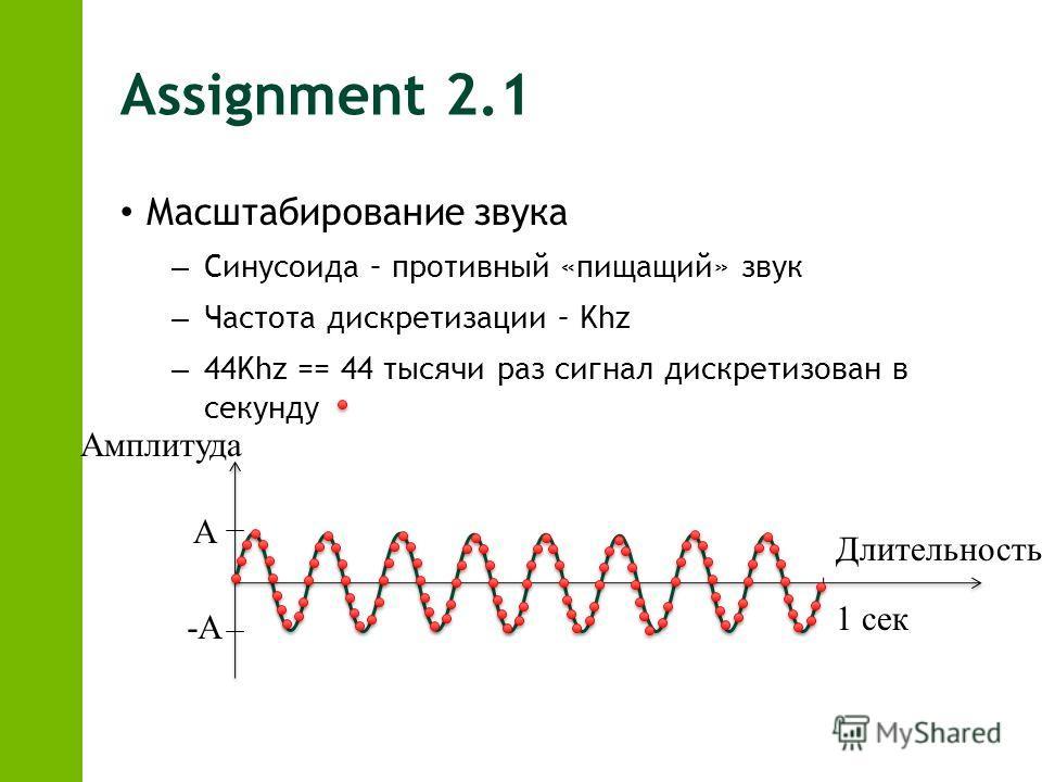 Assignment 2.1 Масштабирование звука – Синусоида – противный «пищащий» звук – Частота дискретизации – Khz – 44Khz == 44 тысячи раз сигнал дискретизован в секунду А -А 1 сек Амплитуда Длительность