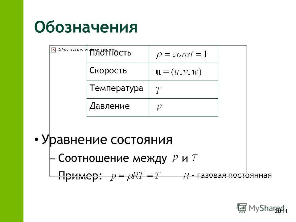 2011 Обозначения Уравнение состояния – Соотношение между и – Пример: Плотность Скорость Температура Давление – газовая постоянная