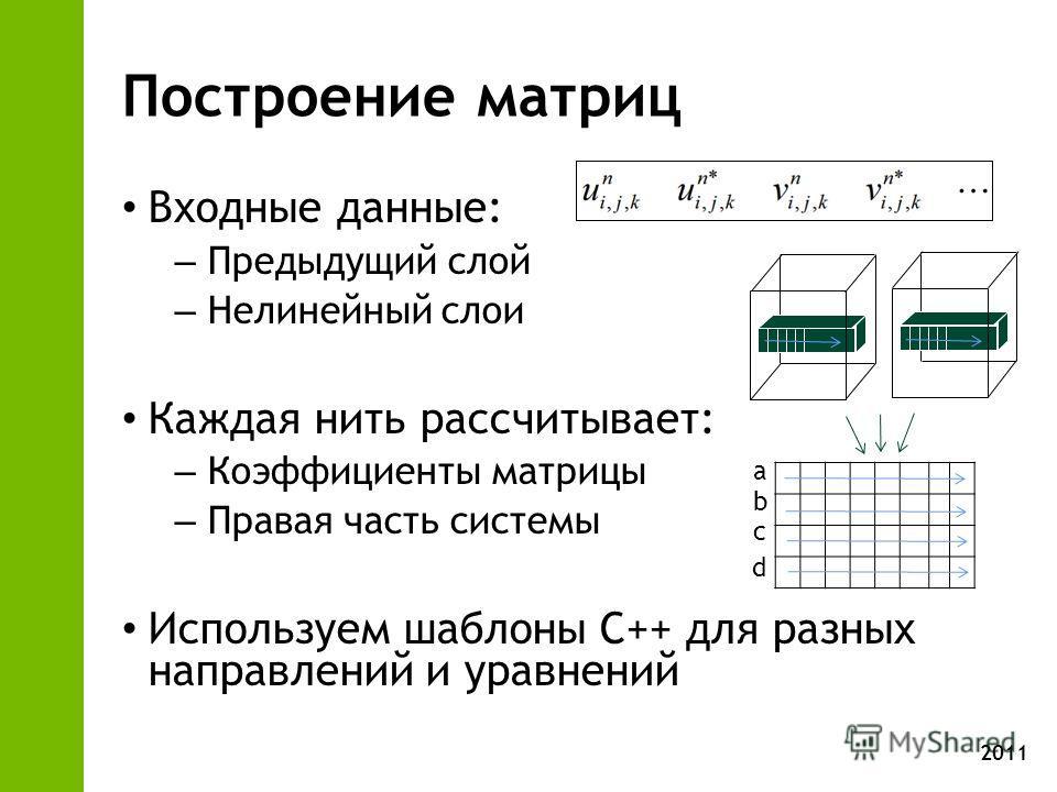2011 Построение матриц Входные данные: – Предыдущий слой – Нелинейный слои Каждая нить рассчитывает: – Коэффициенты матрицы – Правая часть системы Используем шаблоны C++ для разных направлений и уравнений a b c d
