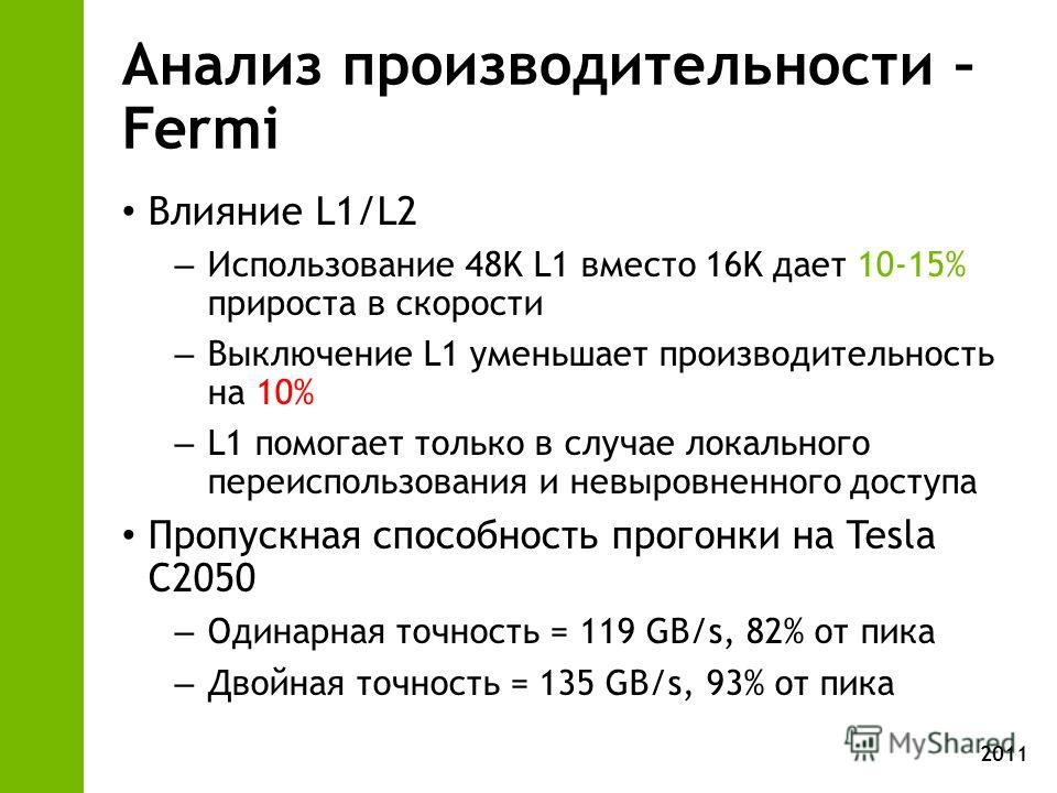 2011 Анализ производительности – Fermi Влияние L1/L2 – Использование 48K L1 вместо 16K дает 10-15% прироста в скорости – Выключение L1 уменьшает производительность на 10% – L1 помогает только в случае локального переиспользования и невыровненного дос