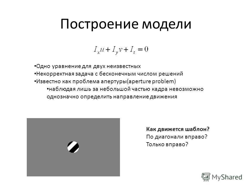Построение модели Одно уравнение для двух неизвестных Некорректная задача с бесконечным числом решений Известно как проблема апертуры(aperture problem) наблюдая лишь за небольшой частью кадра невозможно однозначно определить направление движения Как
