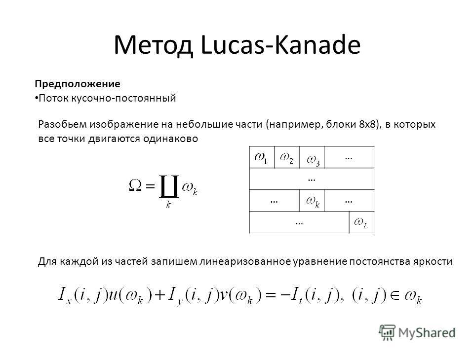 Метод Lucas-Kanade Предположение Поток кусочно-постоянный Разобьем изображение на небольшие части (например, блоки 8x8), в которых все точки двигаются одинаково Для каждой из частей запишем линеаризованное уравнение постоянства яркости … … …… …