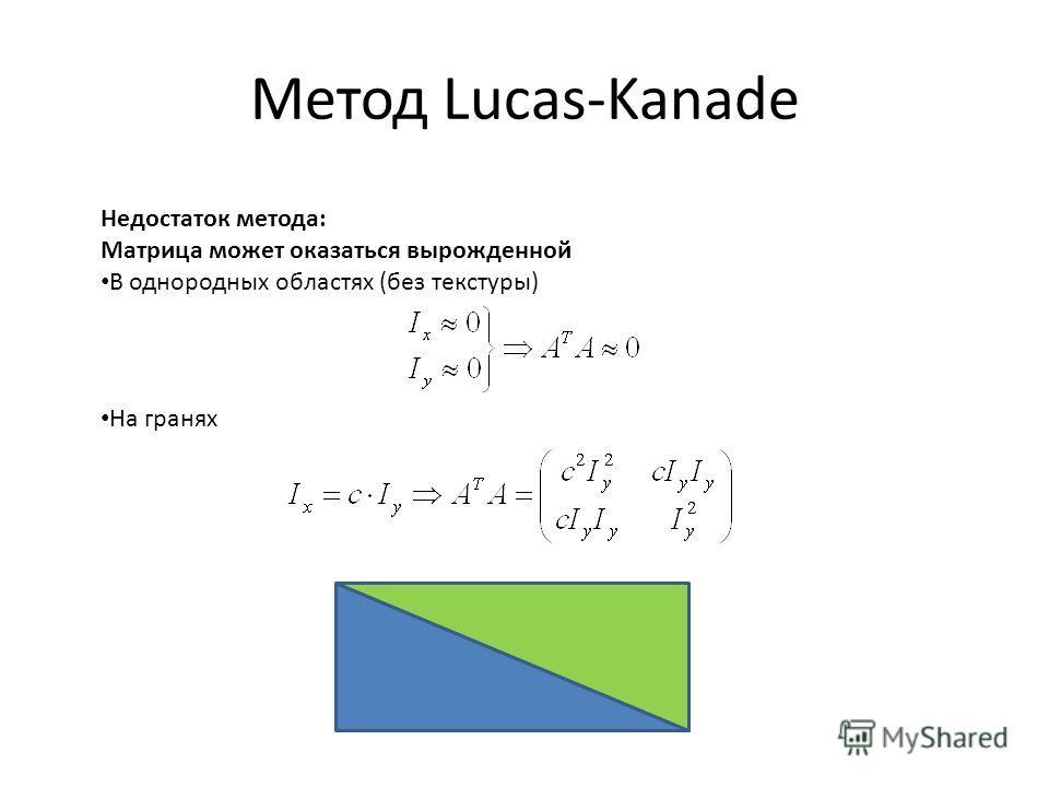 Метод Lucas-Kanade Недостаток метода: Матрица может оказаться вырожденной В однородных областях (без текстуры) На гранях