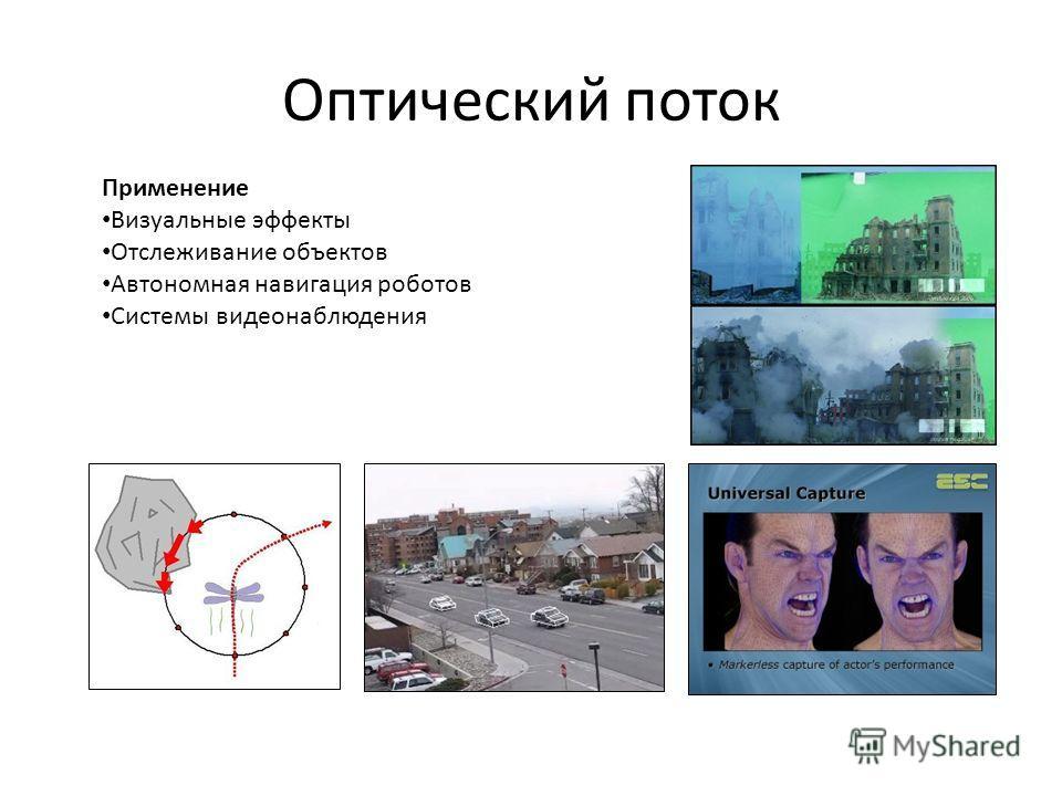 Оптический поток Применение Визуальные эффекты Отслеживание объектов Автономная навигация роботов Системы видеонаблюдения