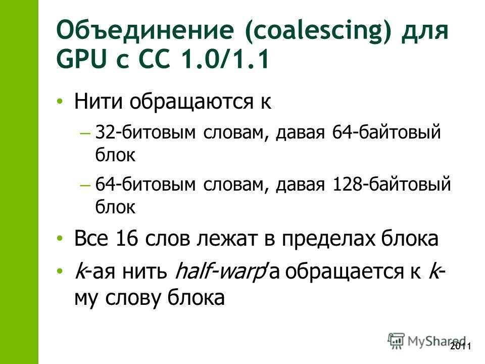 2011 Объединение (coalescing) для GPU с CC 1.0/1.1 Нити обращаются к – 32-битовым словам, давая 64-байтовый блок – 64-битовым словам, давая 128-байтовый блок Все 16 слов лежат в пределах блока k-ая нить half-warpа обращается к k- му слову блока