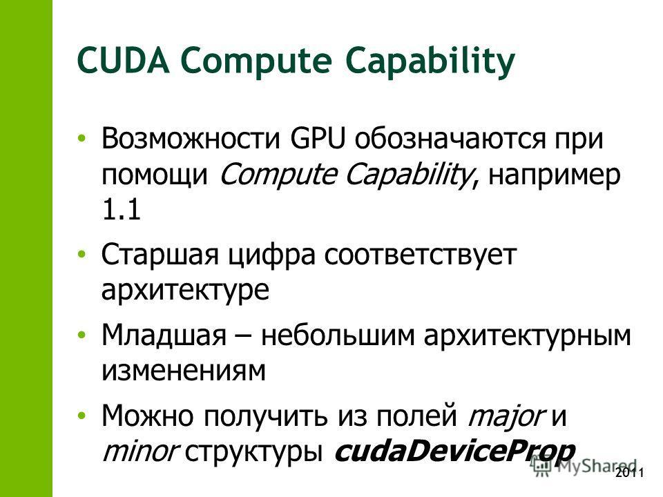2011 CUDA Compute Capability Возможности GPU обозначаются при помощи Compute Capability, например 1.1 Старшая цифра соответствует архитектуре Младшая – небольшим архитектурным изменениям Можно получить из полей major и minor структуры cudaDeviceProp