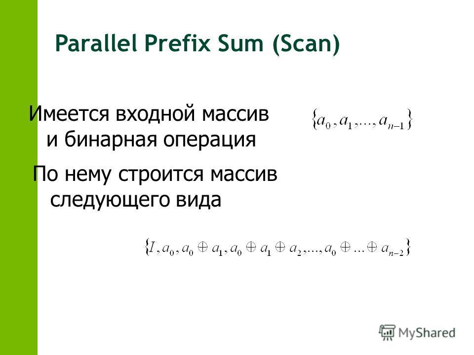Parallel Prefix Sum (Scan) Имеется входной массив и бинарная операция По нему строится массив следующего вида
