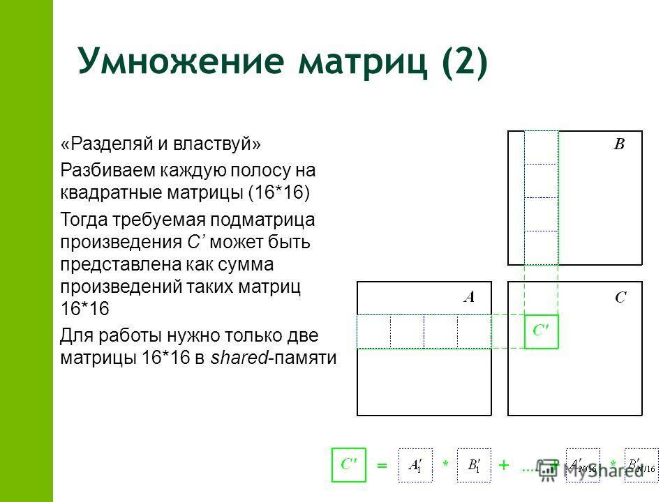 Умножение матриц (2) z«Разделяй и властвуй» zРазбиваем каждую полосу на квадратные матрицы (16*16) zТогда требуемая подматрица произведения C может быть представлена как сумма произведений таких матриц 16*16 zДля работы нужно только две матрицы 16*16