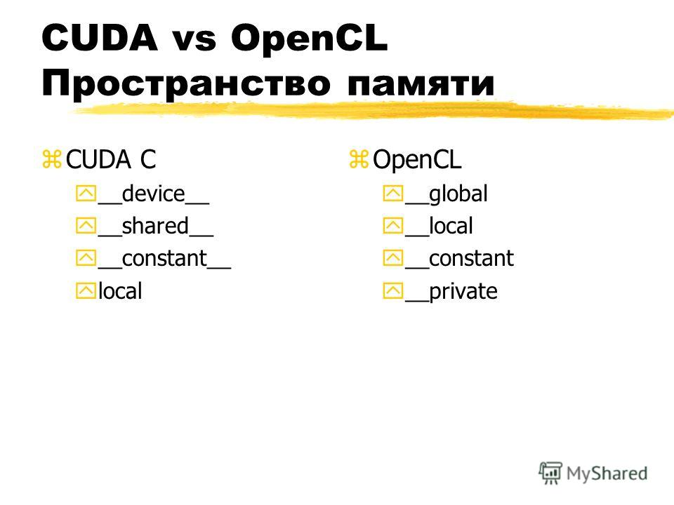 CUDA vs OpenCL Пространство памяти zCUDA C y__device__ y__shared__ y__constant__ ylocal z OpenCL y__global y__local y__constant y__private