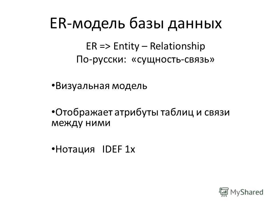 ER-модель базы данных ER => Entity – Relationship По-русски: «сущность-связь» Визуальная модель Отображает атрибуты таблиц и связи между ними Нотация IDEF 1x