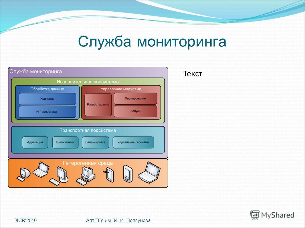DICR2010 Текст Служба мониторинга АлтГТУ им. И. И. Ползунова