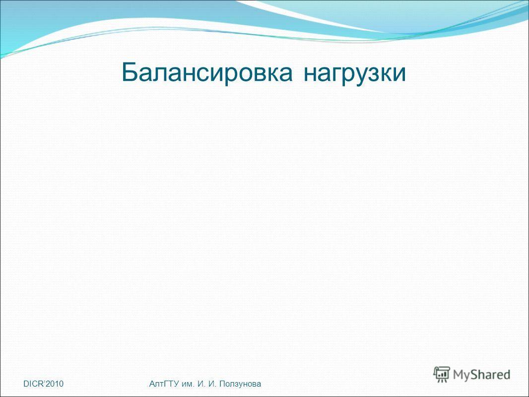 DICR2010 Балансировка нагрузки АлтГТУ им. И. И. Ползунова