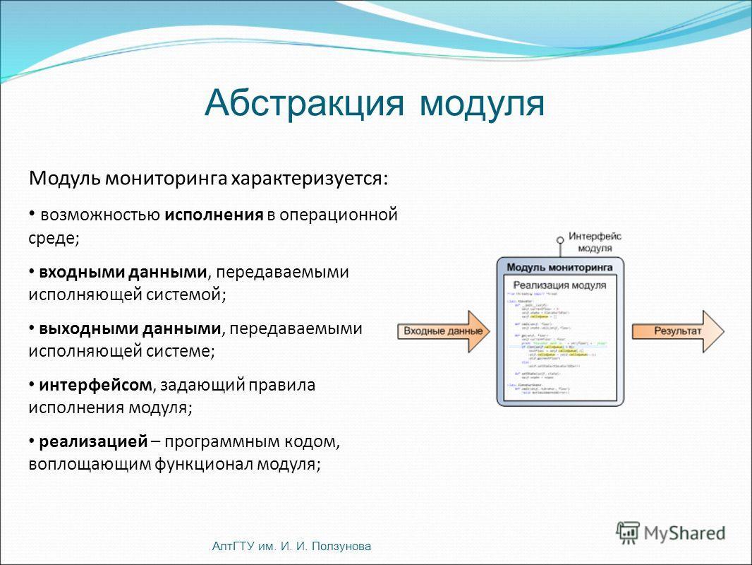 Модуль мониторинга характеризуется: возможностью исполнения в операционной среде; входными данными, передаваемыми исполняющей системой; выходными данными, передаваемыми исполняющей системе; интерфейсом, задающий правила исполнения модуля; реализацией