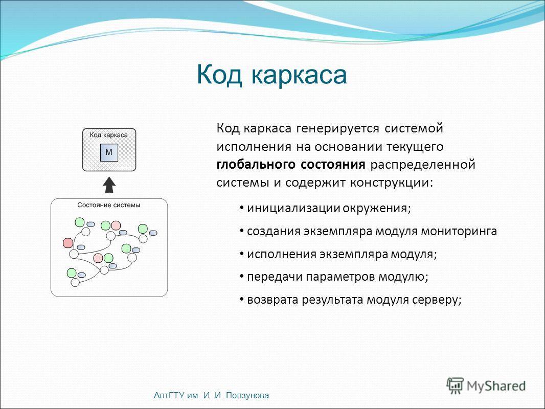 Код каркаса Код каркаса генерируется системой исполнения на основании текущего глобального состояния распределенной системы и содержит конструкции: инициализации окружения; создания экземпляра модуля мониторинга исполнения экземпляра модуля; передачи