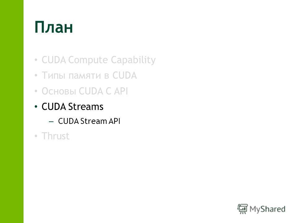 План CUDA Compute Capability Типы памяти в CUDA Основы CUDA C API CUDA Streams – CUDA Stream API Thrust