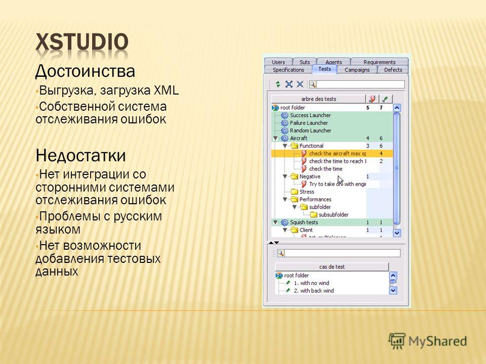 Достоинства Выгрузка, загрузка XML Собственной система отслеживания ошибок Недостатки Нет интеграции со сторонними системами отслеживания ошибок Проблемы с русским языком Нет возможности добавления тестовых данных