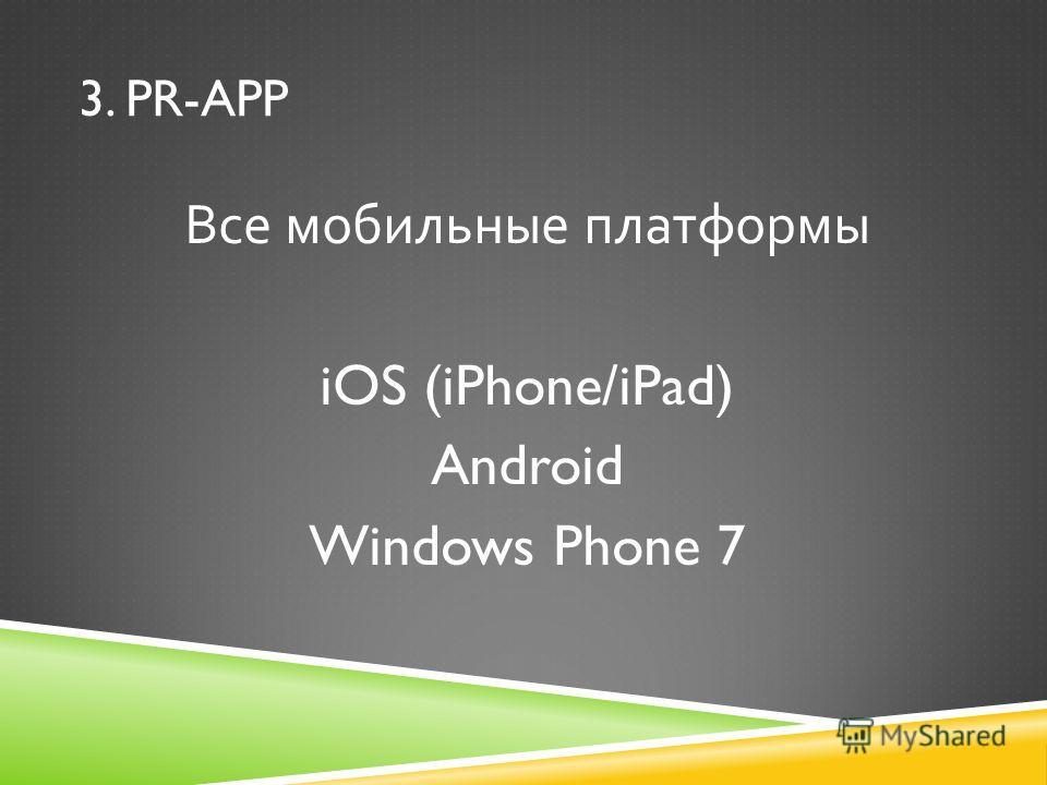 Все мобильные платформы iOS (iPhone/iPad) Android Windows Phone 7