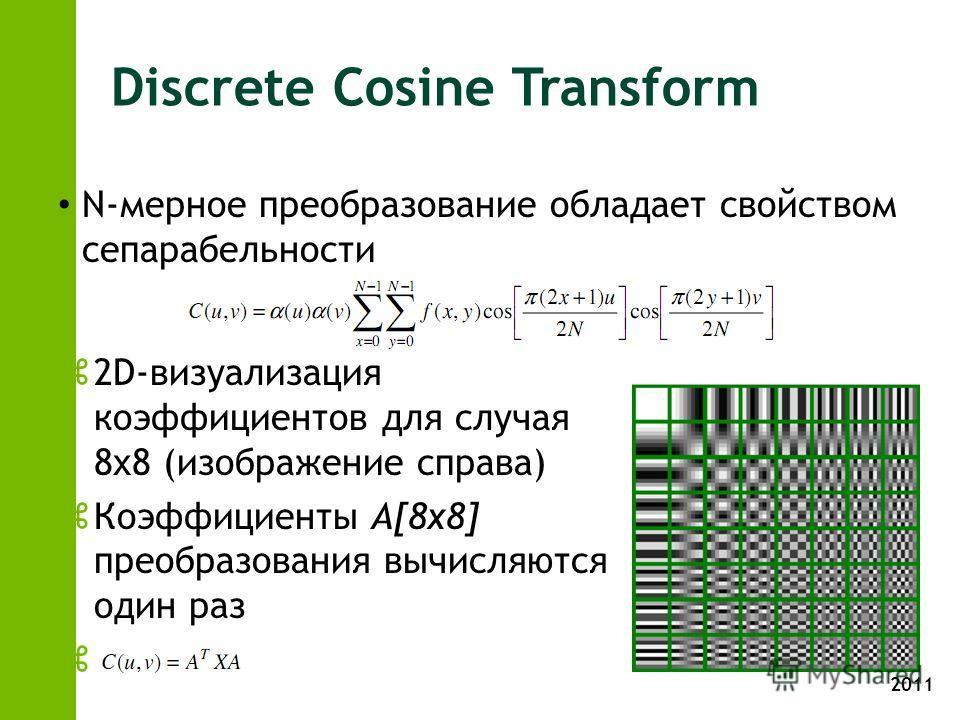 2011 Discrete Cosine Transform N-мерное преобразование обладает свойством сепарабельности z2D-визуализация коэффициентов для случая 8х8 (изображение справа) zКоэффициенты A[8x8] преобразования вычисляются один раз z
