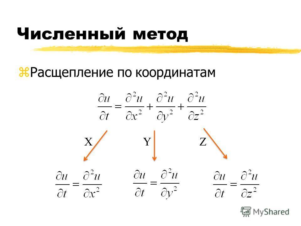 Численный метод zРасщепление по координатам XYZ