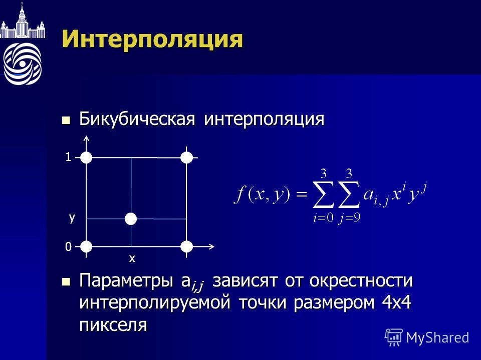 Интерполяция Бикубическая интерполяция Бикубическая интерполяция Параметры а i,j зависят от окрестности интерполируемой точки размером 4х4 пикселя Параметры а i,j зависят от окрестности интерполируемой точки размером 4х4 пикселя 1 0 x y