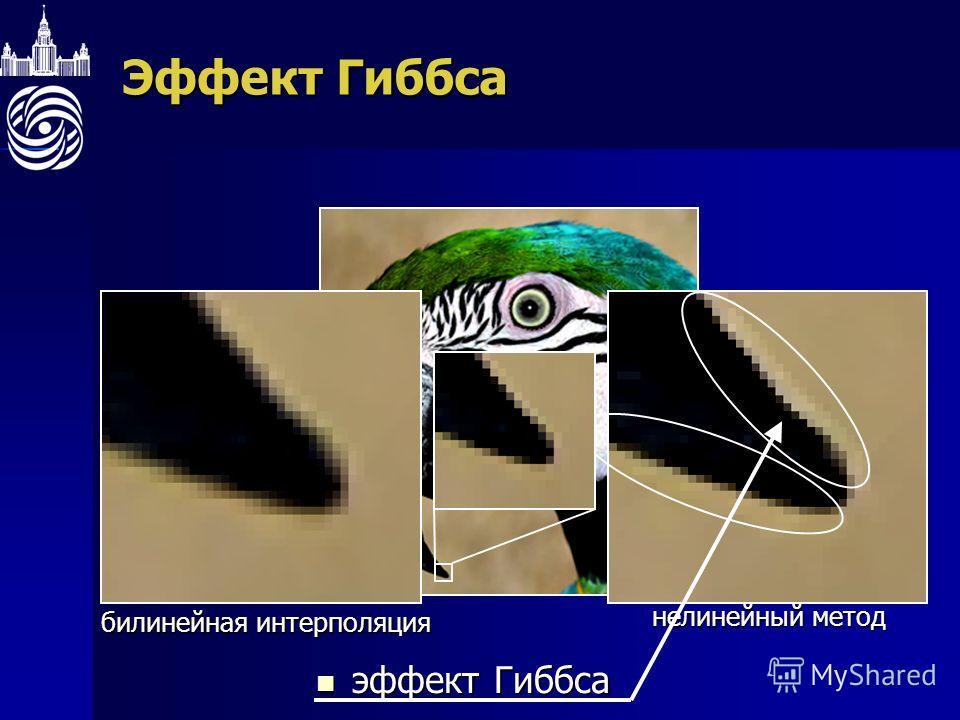 Эффект Гиббса билинейная интерполяция нелинейный метод эффект Гиббса эффект Гиббса