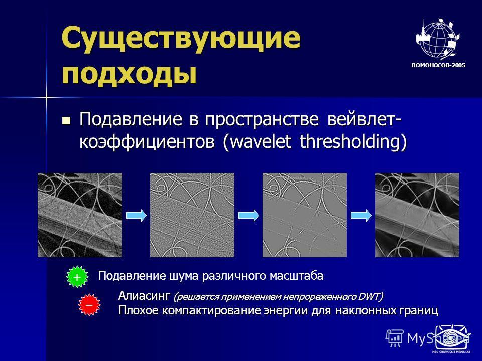 ЛОМОНОСОВ-2005 Существующие подходы Подавление в пространстве вейвлет- коэффициентов (wavelet thresholding) Подавление в пространстве вейвлет- коэффициентов (wavelet thresholding) + Подавление шума различного масштаба – Алиасинг (решается применением