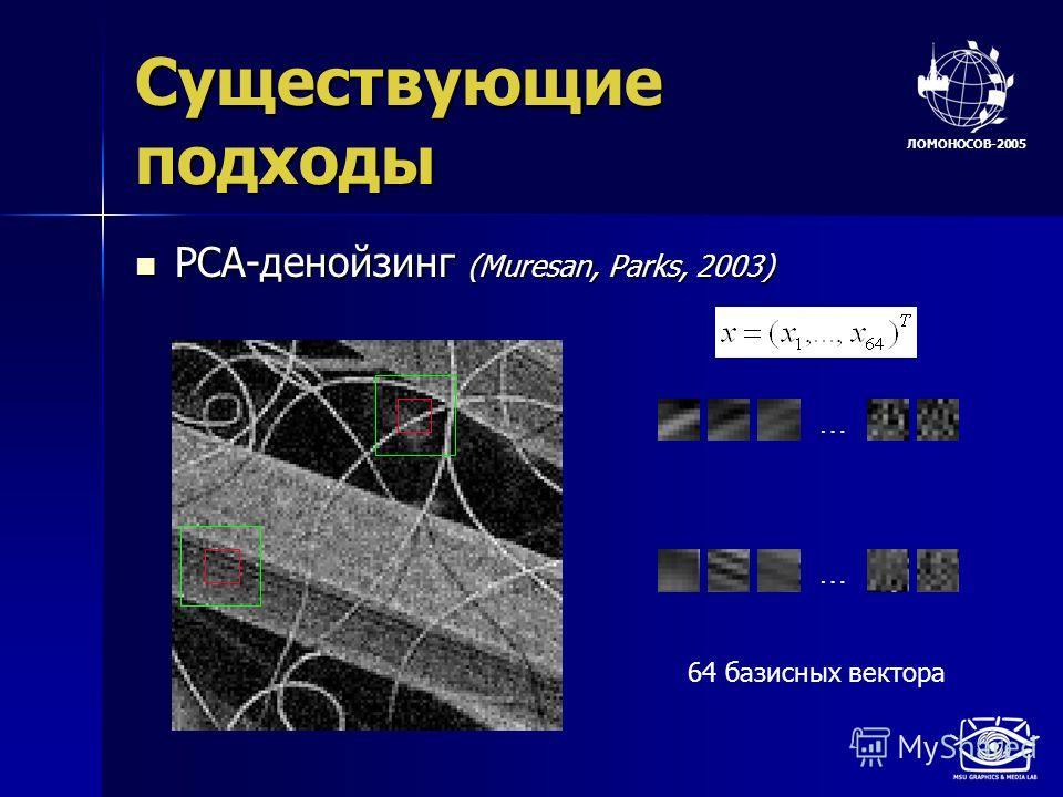 ЛОМОНОСОВ-2005 Существующие подходы PCA-денойзинг (Muresan, Parks, 2003) PCA-денойзинг (Muresan, Parks, 2003) … … 64 базисных вектора