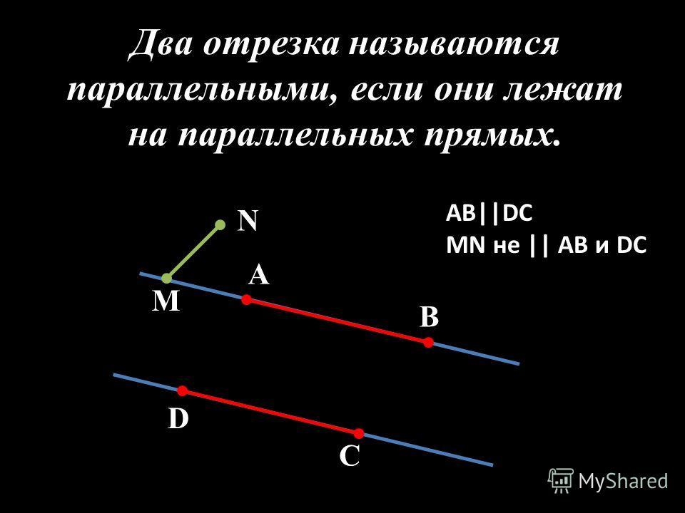 Два отрезка называются параллельными, если они лежат на параллельных прямых. А В D C М N АВ||DC MN не || АВ и DC