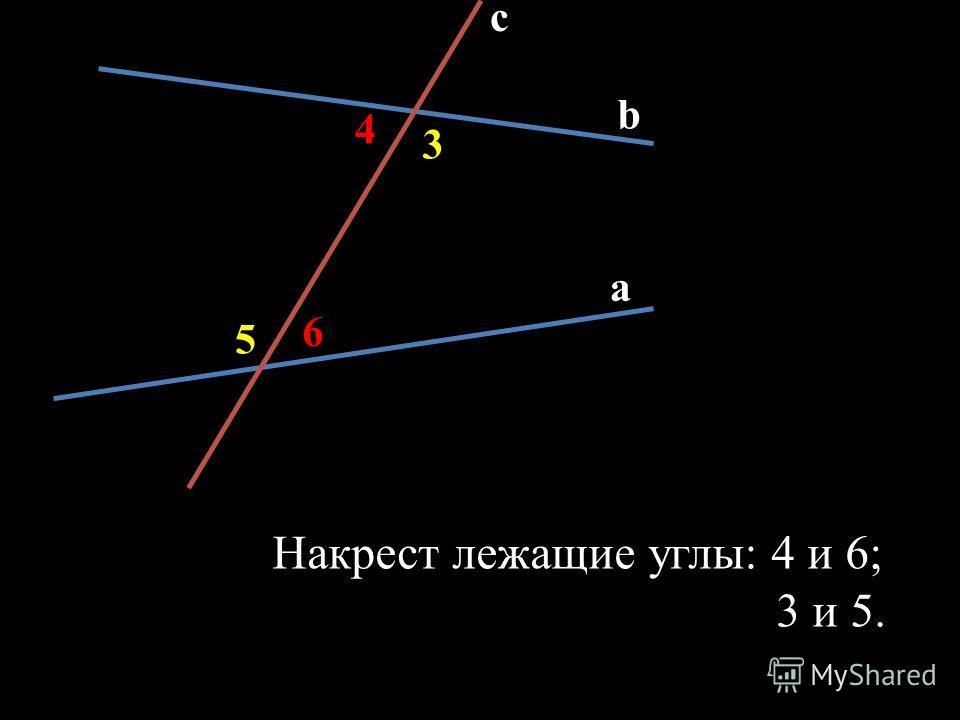 c b a 6 5 3 4 Накрест лежащие углы: 4 и 6; 3 и 5.