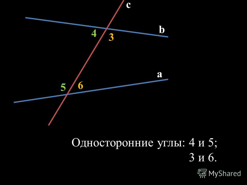 c b a 6 5 3 4 Односторонние углы: 4 и 5; 3 и 6.