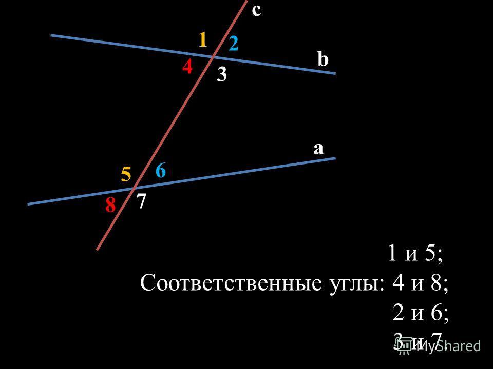 c b a 1 2 6 5 3 4 7 8 1 и 5; Соответственные углы: 4 и 8; 2 и 6; 3 и 7.