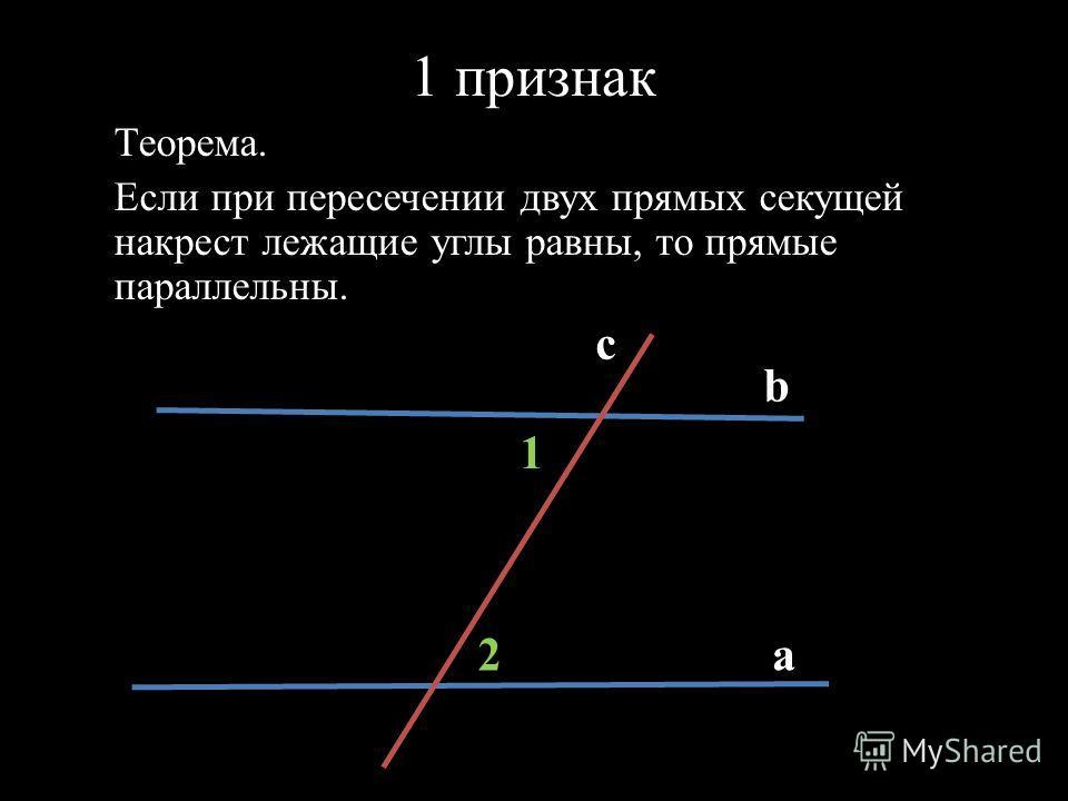 1 признак Теорема. Если при пересечении двух прямых секущей накрест лежащие углы равны, то прямые параллельны. c b a2 1