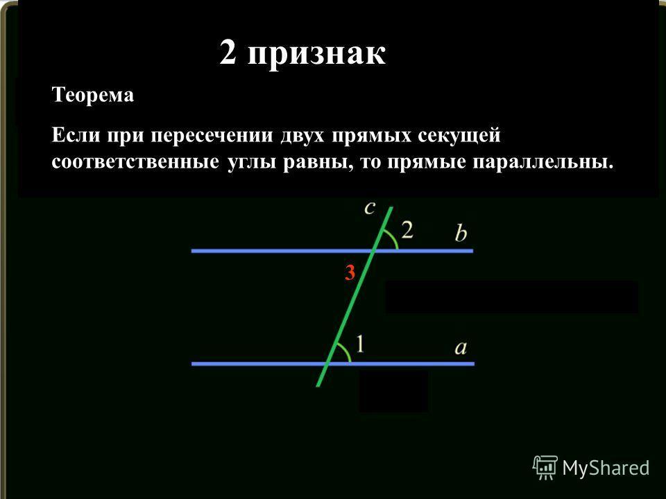 3 Теорема Если при пересечении двух прямых секущей соответственные углы равны, то прямые параллельны. 2 признак