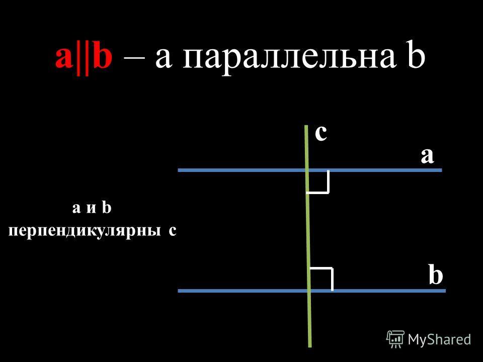 с а b a||b – a параллельна b a и b перпендикулярны с