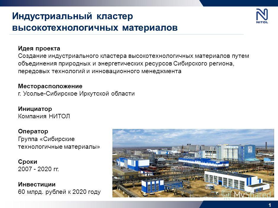 Создание индустриального кластера высокотехнологичных материалов г. Усолье-Сибирское Иркутской области Министерство регионального развития Москва, 25 августа 2010 года