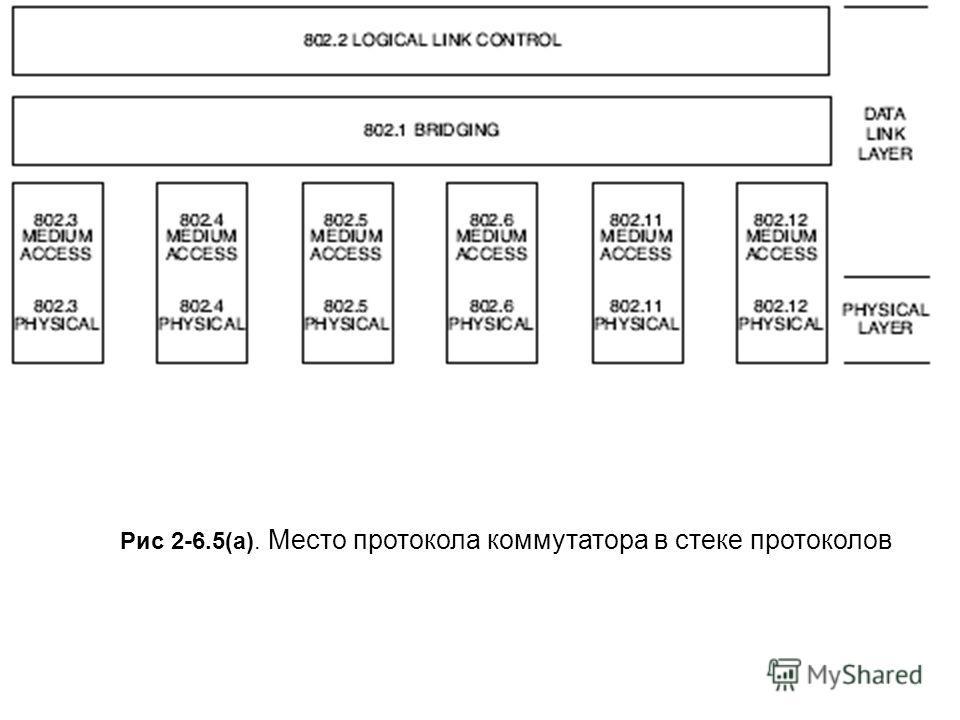 Рис 2-6.5(a). Место протокола коммутатора в стеке протоколов