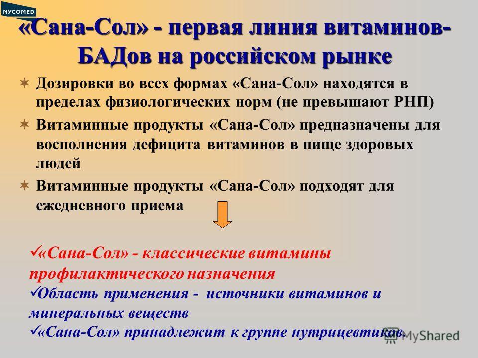 «Сана-Сол» - первая линия витаминов- БАДов на российском рынке Дозировки во всех формах «Сана-Сол» находятся в пределах физиологических норм (не превышают РНП) Витаминные продукты «Сана-Сол» предназначены для восполнения дефицита витаминов в пище здо