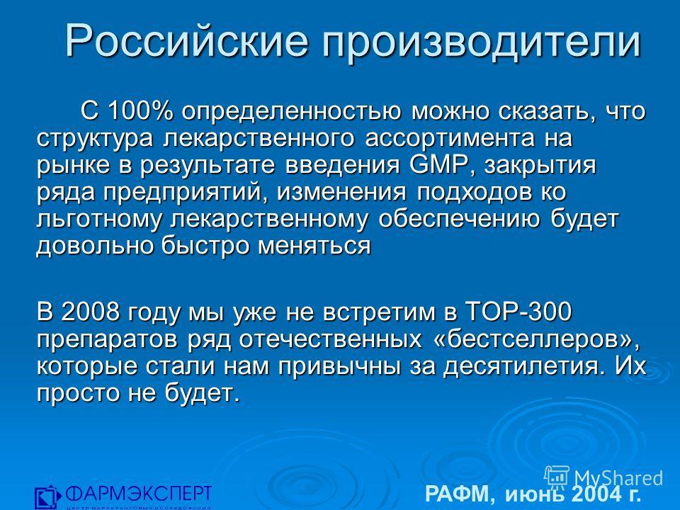 Российские производители РАФМ, июнь 2004 г. С 100% определенностью можно сказать, что структура лекарственного ассортимента на рынке в результате введения GMP, закрытия ряда предприятий, изменения подходов ко льготному лекарственному обеспечению буде