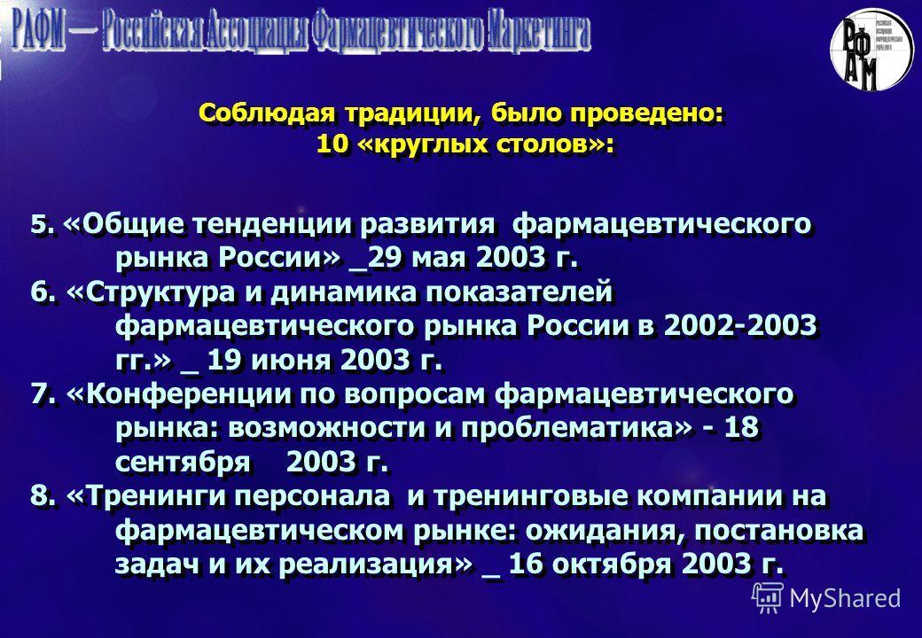 Соблюдая традиции, было проведено: 10 «круглых столов»: 5. «Общие тенденции развития фармацевтического рынка России» _29 мая 2003 г. 6. «Структура и динамика показателей фармацевтического рынка России в 2002-2003 гг.» _ 19 июня 2003 г. 7. «Конференци