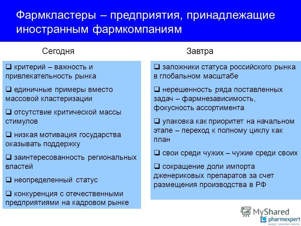заложники статуса российского рынка в глобальном масштабе нерешенность ряда поставленных задач – фармнезависимость, фокусность ассортимента упаковка как приоритет на начальном этапе – переход к полному циклу как план свои среди чужих – чужие среди св