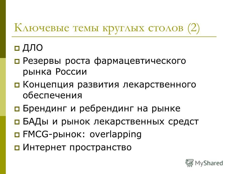 Ключевые темы круглых столов (2) ДЛО Резервы роста фармацевтического рынка России Концепция развития лекарственного обеспечения Брендинг и ребрендинг на рынке БАДы и рынок лекарственных средст FMCG-рынок: overlapping Интернет пространство