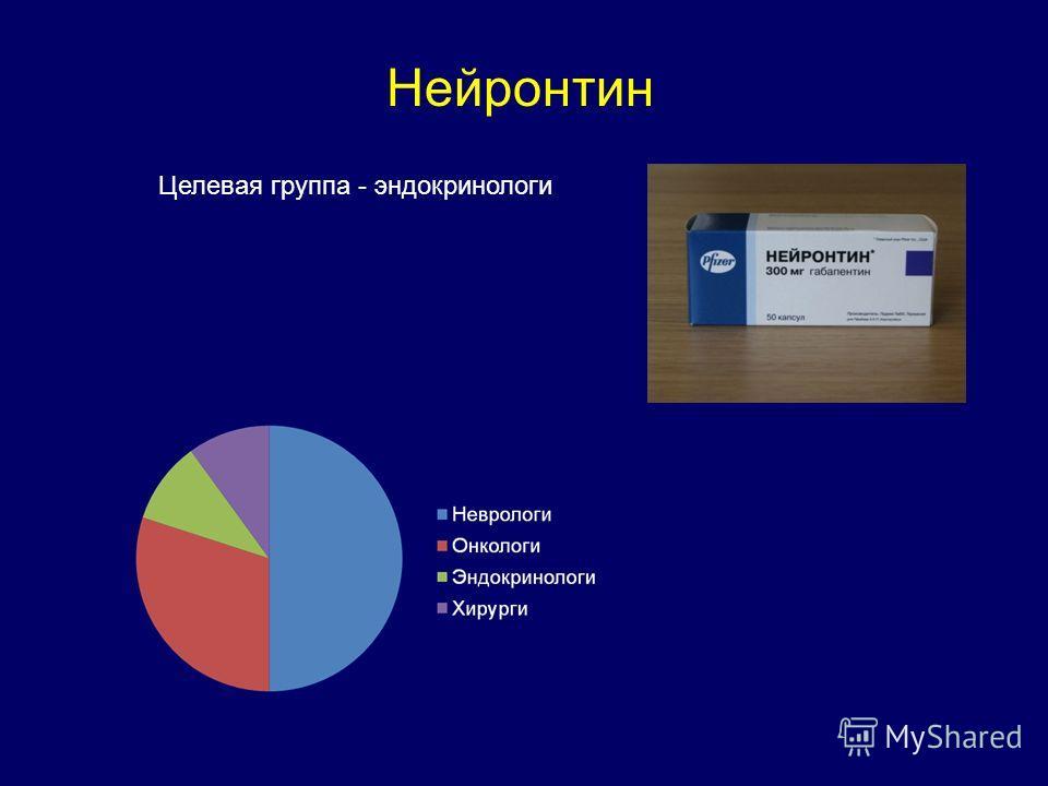 Нейронтин Целевая группа - эндокринологи