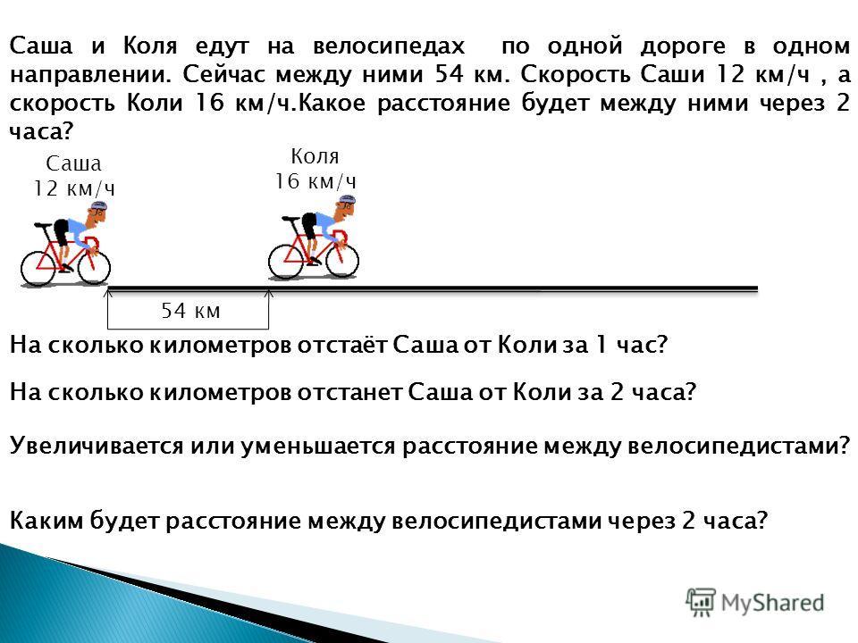 Саша и Коля едут на велосипедах по одной дороге в одном направлении. Сейчас между ними 54 км. Скорость Саши 12 км/ч, а скорость Коли 16 км/ч.Какое расстояние будет между ними через 2 часа? Саша 12 км/ч Коля 16 км/ч 54 км На сколько километров отстаёт