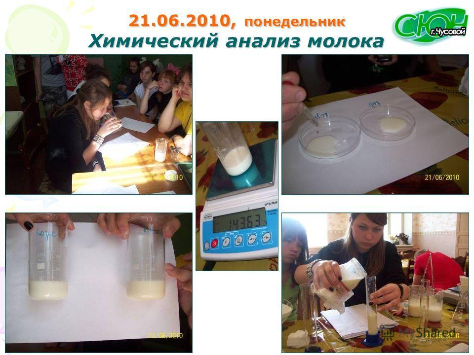 21.06.2010, понедельник Химический анализ молока