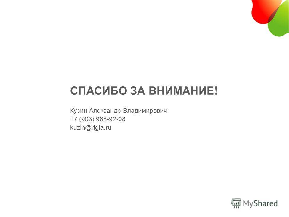 СПАСИБО ЗА ВНИМАНИЕ! Кузин Александр Владимирович +7 (903) 968-92-08 kuzin@rigla.ru