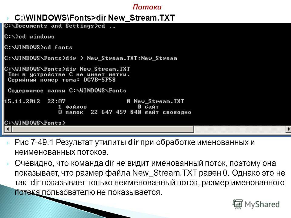 C:\WINDOWS\Fonts>dir New_Stream.TXT Рис 7-49.1 Результат утилиты dir при обработке именованных и неименованных потоков. Очевидно, что команда dir не видит именованный поток, поэтому она показывает, что размер файла New_Stream.TXT равен 0. Однако это
