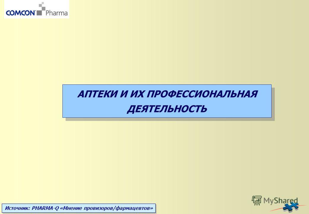 Источник: PHARMA-Q «Мнение провизоров/фармацевтов» АПТЕКИ И ИХ ПРОФЕССИОНАЛЬНАЯ ДЕЯТЕЛЬНОСТЬ