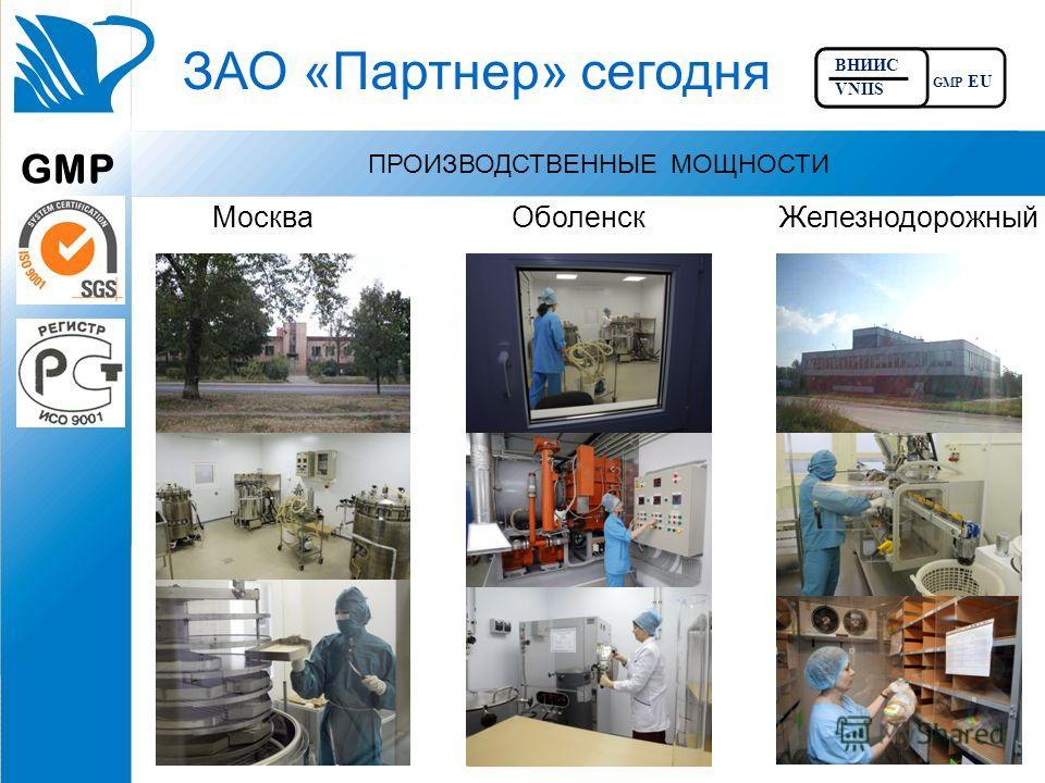 ЗАО «Партнер» сегодня ПРОИЗВОДСТВЕННЫЕ МОЩНОСТИ МоскваОболенскЖелезнодорожный GMP ВНИИС VNIIS GMP EU