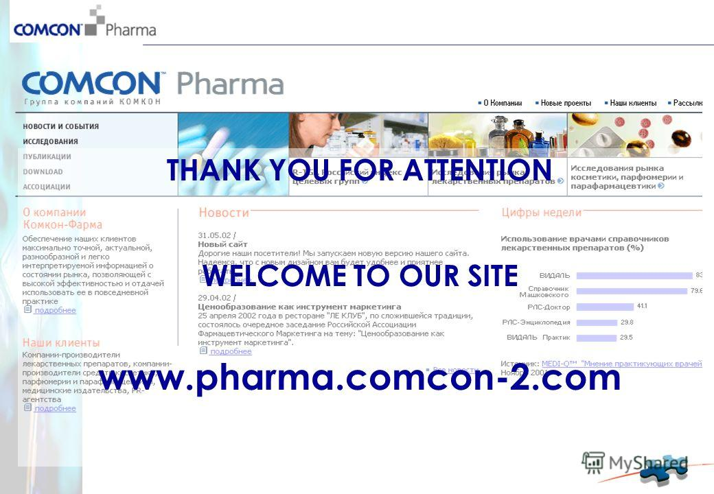 THANK YOU FOR ATTENTION WELCOME TO OUR SITE www.pharma.comcon-2.com