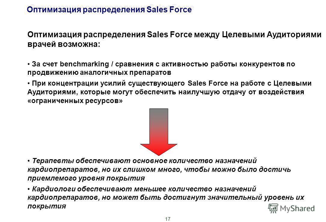 17 Оптимизация распределения Sales Force между Целевыми Аудиториями врачей возможна: За счет benchmarking / сравнения с активностью работы конкурентов по продвижению аналогичных препаратов При концентрации усилий существующего Sales Force на работе с